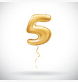 golden 5 number five metallic balloon party vector image vector image