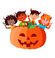 group of children with devil horns peeking out vector image vector image