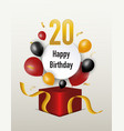 happy birth day with open surprise gift box vector image vector image