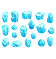 ice crystals blue magic gems icons set vector image vector image