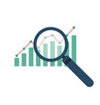 magnifier and graph icon vector image