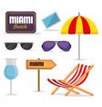 miami beach summer icons vector image vector image
