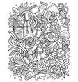 nail salon hand drawn doodles vector image vector image