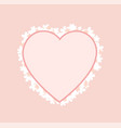 pink heart shape frame decorated blooming flowers vector image vector image