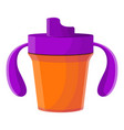 plastic sippy cup icon cartoon style vector image