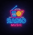 radio music neon logo radio night neon vector image vector image
