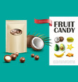 realistic fruit candies concept vector image vector image