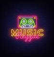 reggae music neon sign design vector image