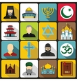 Religious symbol icons set flat style vector image vector image