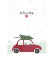 retro red car with tree on top vector image