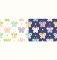 retro seamless set patterns with butterfly vector image