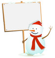 santa snowman holding wood sign vector image vector image