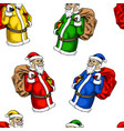 seamless pattern santa claus merry christmas vector image