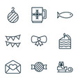set of 9 holiday icons includes toffee candy vector image vector image