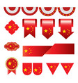set of china flag icon and label vector image