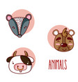 set of cute animals cartoons vector image