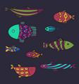 set of cute sea fish illsutration vector image vector image