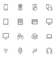 Set of Thin Line Multimedia and Devices Icons vector image