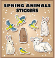 set spring animals stickers label doodles vector image vector image