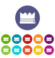 silver crown icons set color vector image vector image