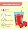 Strawberry smoothie recipe with ingredients vector image vector image