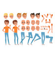 teenager boy character constructor set of various vector image vector image