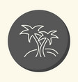 two palms on the island round line icon vector image vector image