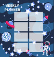 weekly planner with astronaut vector image