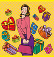 woman and gift boxes pop vector image