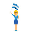 woman waving an argentina flag vector image vector image