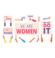 women rights banners woman power girl rights vector image
