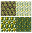 Olive Set of seamless backgrounds vector image