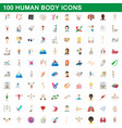 100 human body icons set cartoon style vector image