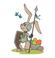 bunny knight with a lance and shield vector image vector image