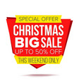 christmas discount special offer sale banner vector image