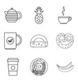 coffee to go icons set outline style vector image vector image