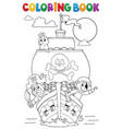 coloring book vessel with pirates vector image vector image