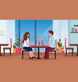 couple sitting at table using laptop happy vector image vector image