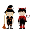 Cute kids in halloween costumes cartoon vector image