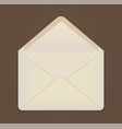 cute white empty open envelope on brown background vector image