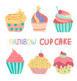 doodle hand drawn rainbow cute cup cake vector image vector image