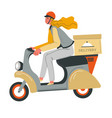 food delivery woman riding moped scooter with box vector image vector image