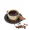 Fresh cup of coffee with cinnamon isolated vector image vector image