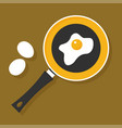 fried egg in a frying pan isolated on background vector image vector image