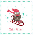 funny and cute card with owl riding on a sledge vector image vector image