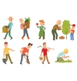 Garden harvest people set vector image