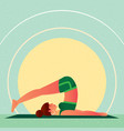 girl lies in yoga plow pose or halasana vector image