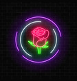 glowing rose neon sign of flower shop in round vector image vector image