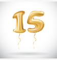 golden number 15 fifteen metallic balloon party vector image vector image