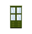 green closet with glass doors and drawers vector image vector image